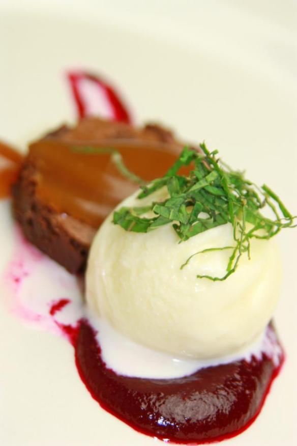 Chef Dean's Chocolate Brownie with Daikon Ice Cream, Strawberry and Beet Molasses withTea-Smoked Butterscotch Sauce