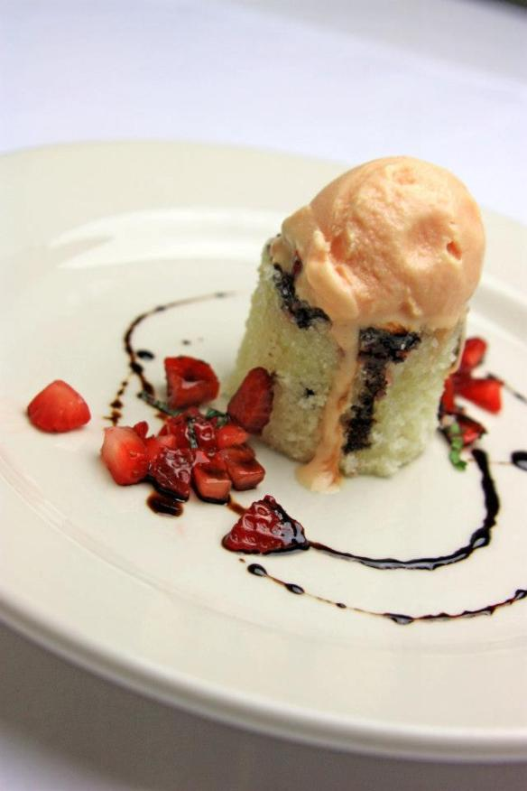 Chef Barlowe's Strawberry Cake with Beet Ice Cream & Beet-Strawberry Balsamic Reduction, and Strawberry-Mint Chutney